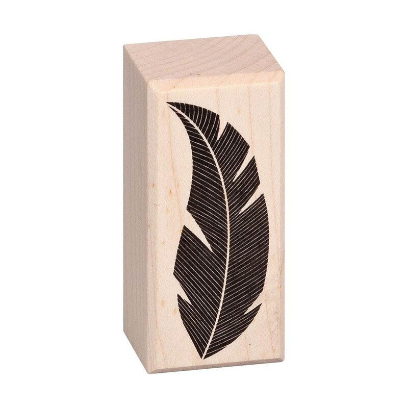 Wooden stamp feather 26 x 57 mm