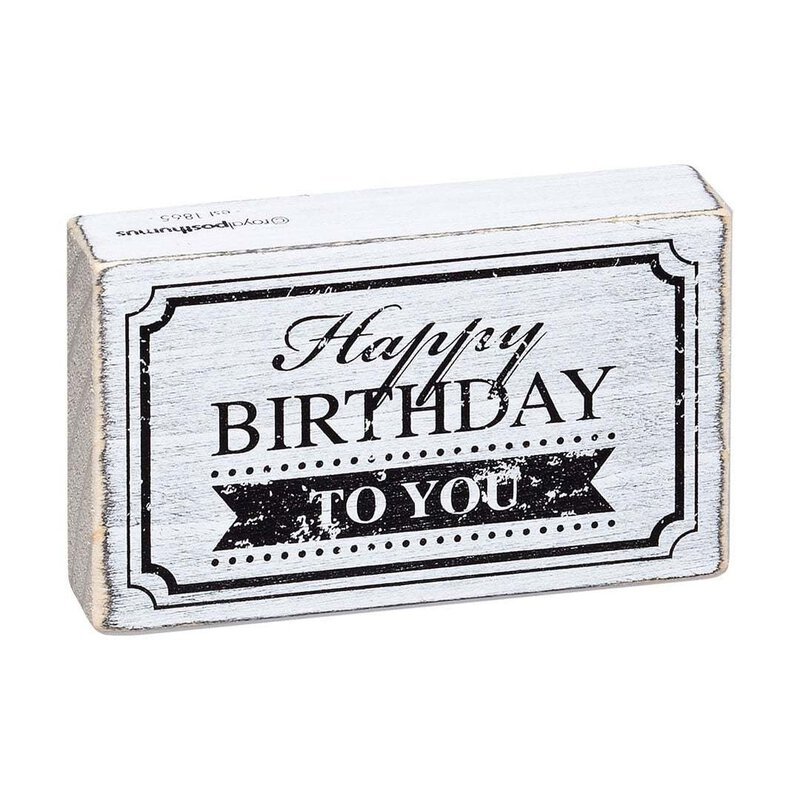 Holzstempel Vintage Happy Birthday 70 x 42 mm