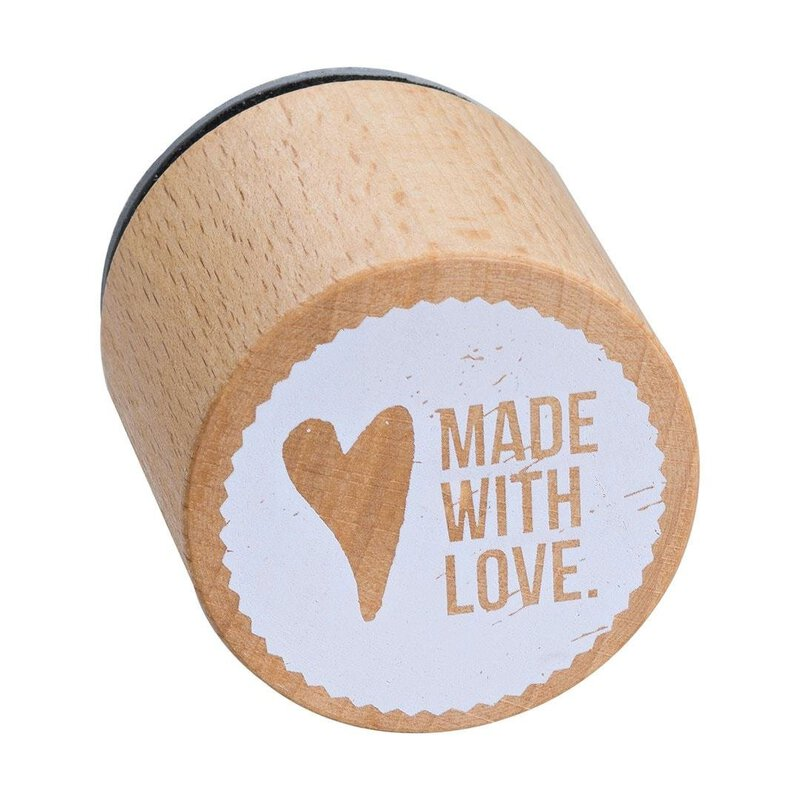 Wooden stamp Made with Love  33 x 33 mm, Woodies