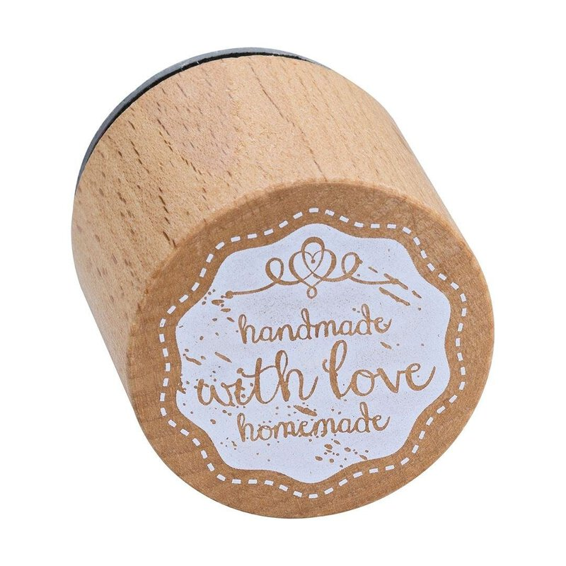 Wooden stamp handmade with love  33 x 33 mm, Woodies