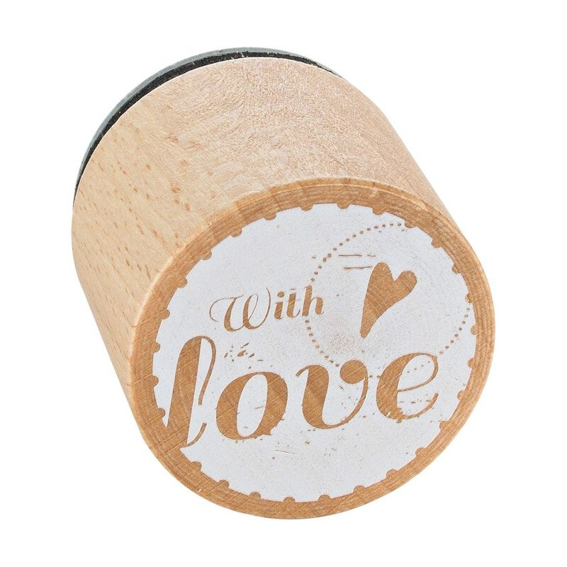 Wooden stamp Heart With Love round, Ø 33 mm, Woodies