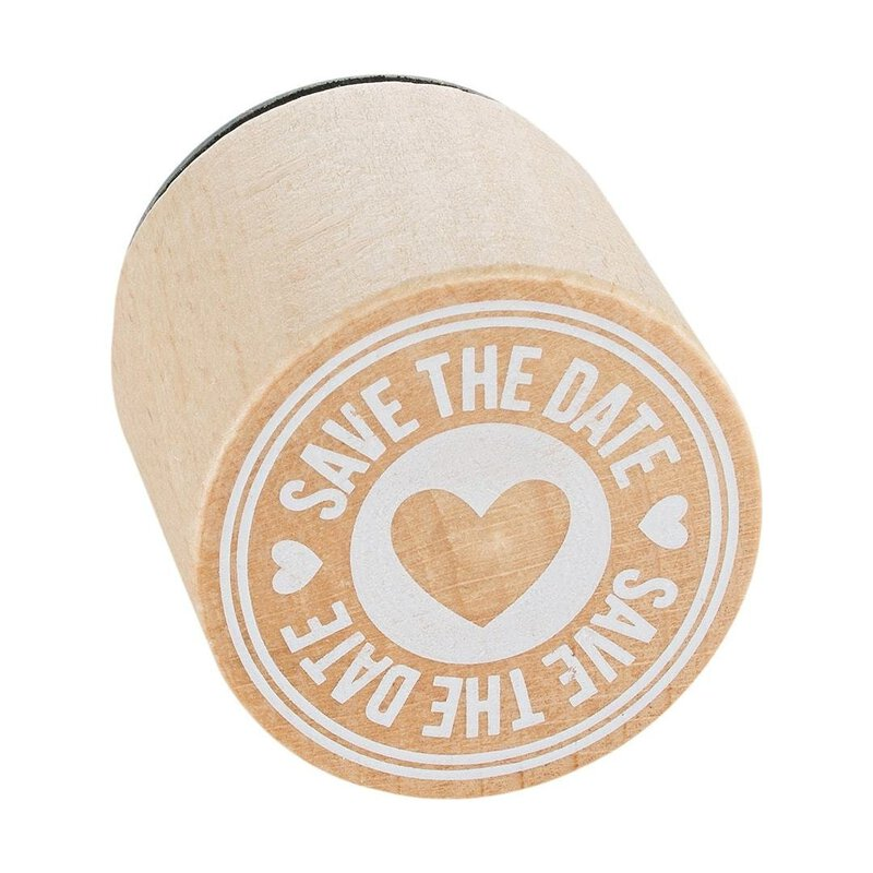 Wooden stamp  Save The Date round, Ø 33 mm, Woodies