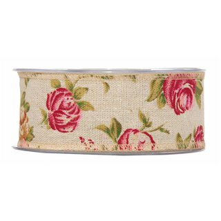 Cotton ribbon with roses 40 mm, coloured decoration ribbon