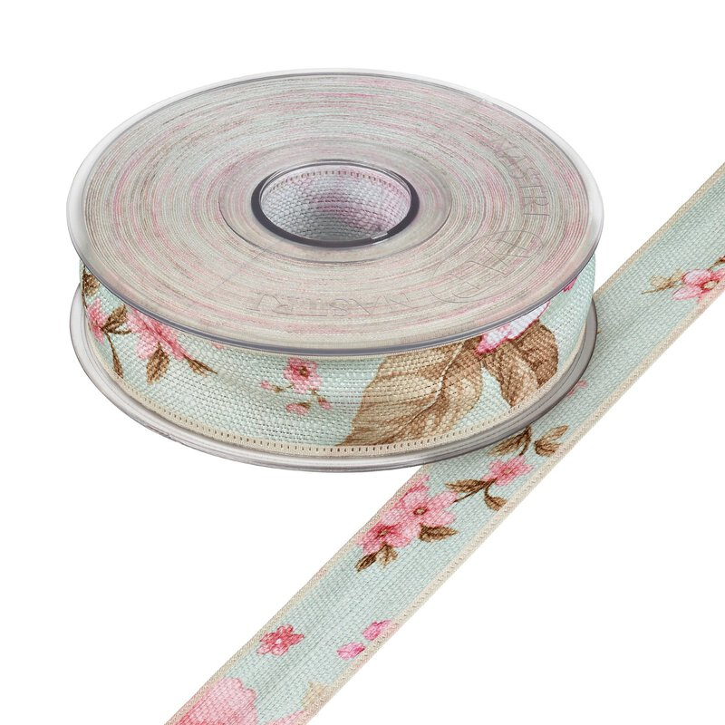 Cotton ribbon romance, mint, 25 mm x 15 m