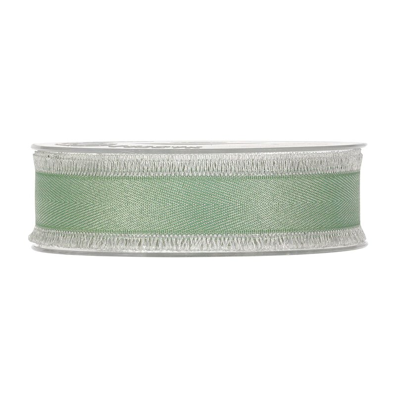 Cotton ribbon fringes, green, 25 mm x 15 m