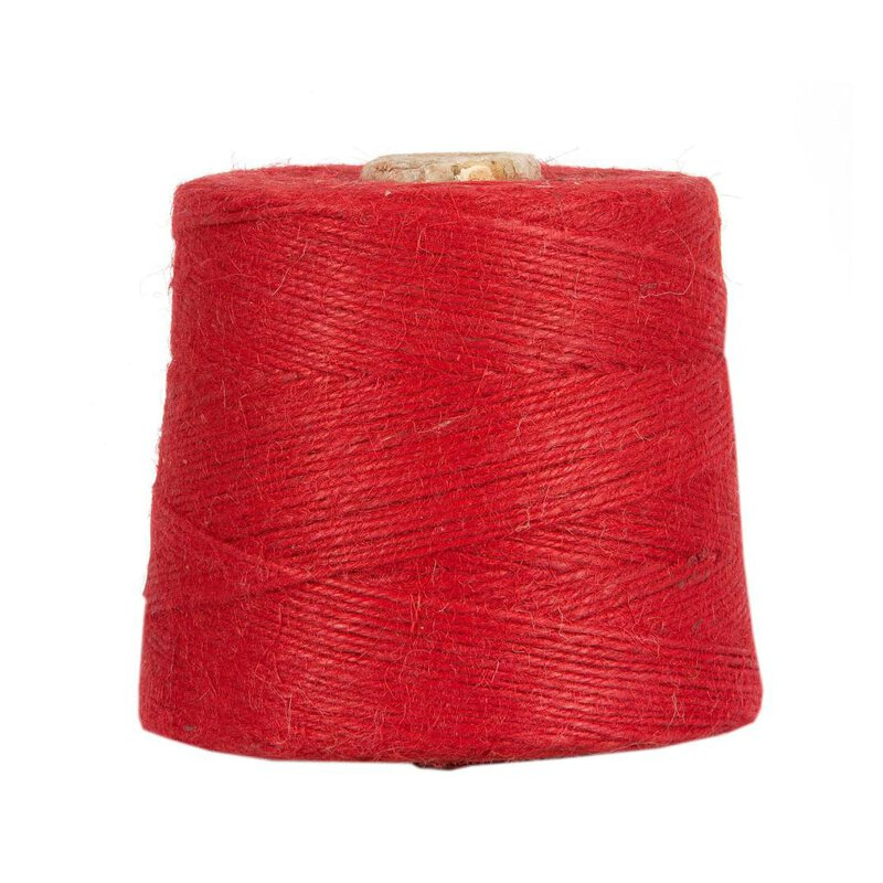 Jute twine, red, 1 kg, approx. 500 m jute cord, 100% jute on cardboard spool