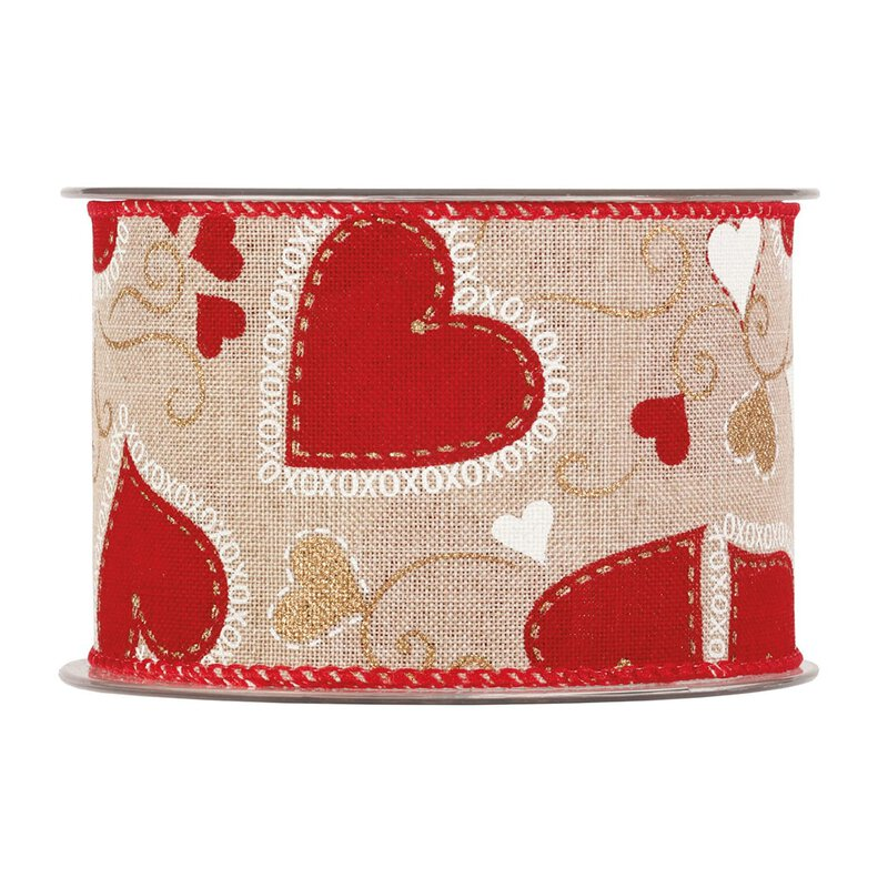 Cotton ribbon Red hearts, natural, 60 mm x 10 m