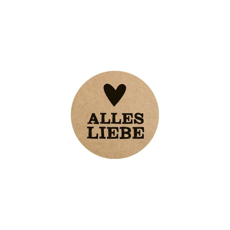 Dispenser with 500 stickers Alles Liebe with heart 35 mm round, kraft paper, self-adhesive