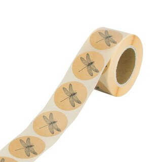Sticker »Libelle«, 35 mm rund, braun, Kraftpapier-Optik,...