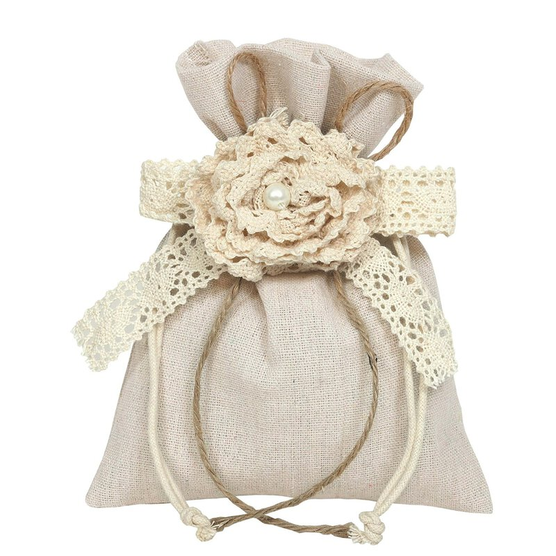 Cotton bag with lace bloom, 20 x 15 cm
