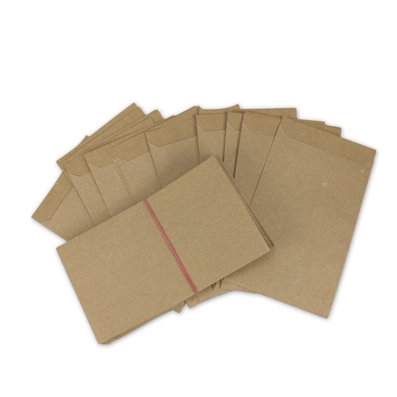 Paper bag, 85 x 132 mm, 70 g/m² kraft paper, smooth, Flap