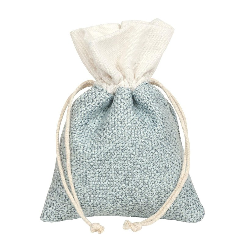 Gift bag with drawstring, light blue, 10 x 14 cm, cotton, linen - 10/pack