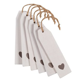 6 wooden hang tags, white with heart, 12 x 2,8 cm