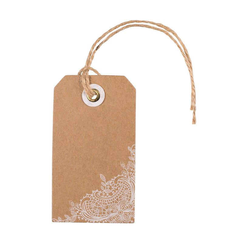 24 Hang tags, Kraft cardboard with white print, 4,5 x 8 cm