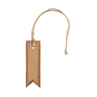24 Hang tags, Kraft cardboard double with cord 2,3 x 7 cm