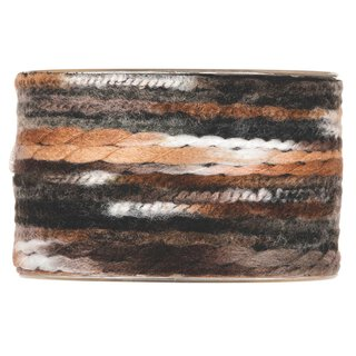 Multicolor wool ribbon, dark brown, 63 mm x 5 m