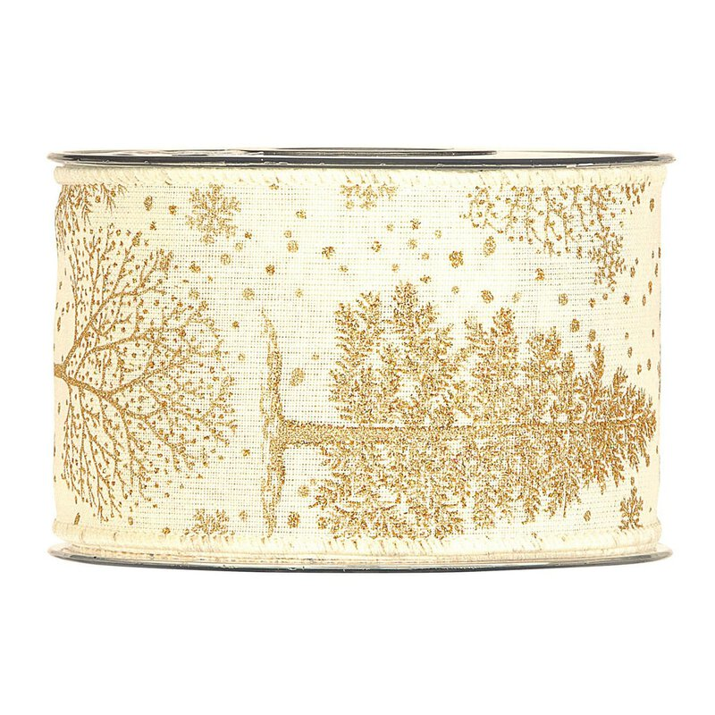 Gift ribbon Winter Gold, 63 mm x 10 m, ribbon with wire edge, glitter