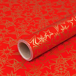 Wrapping paper Golden stars red 0,7 x 10 m, roll, smooth