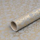 Wrapping papier Golden Stars grey 0,7 x 10 m, roll,  smooth