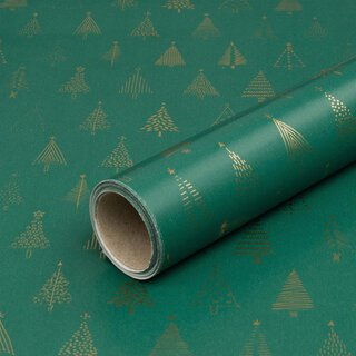 Wrapping paper Golden fir green 0,7 x 10 m, roll, smooth
