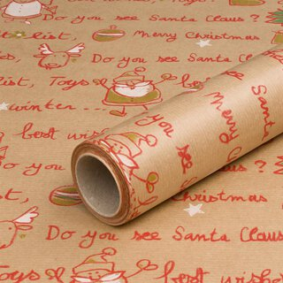 Wrapping paper Santa Claus red, gold, green 0,7 x 10 m,...