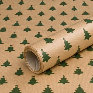 Wrapping paper Green fir 0,7 x 10 m, Kraft paper, roll,...