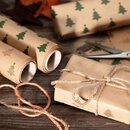 Wrapping paper Green fir 0,7 x 10 m, Kraft paper, roll, smooth
