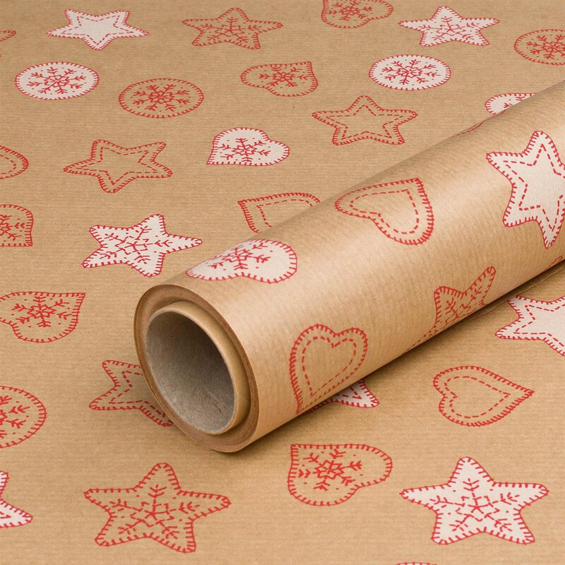 Wrapping paper Christmas cookies red 0,7 x 10 m, kraft paper, roll