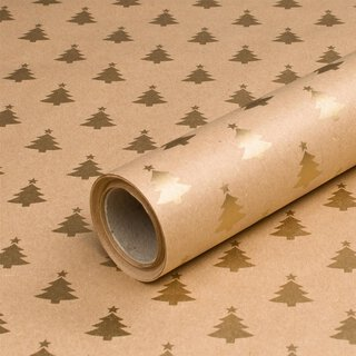 Christmas paper Golden fir gift wrapping paper, kraft...