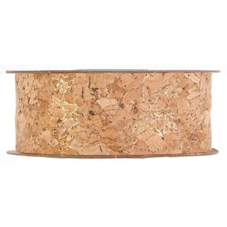 Cork ribbon with gold accents  25 mm x 5 m, light brown