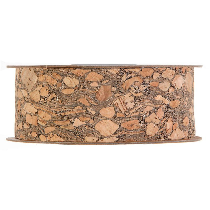 Cork ribbon with gold accents  25 mm x 5 m, brown