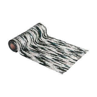 Multicolor wool runner 30 cm x 2,5 m, emerald, grey