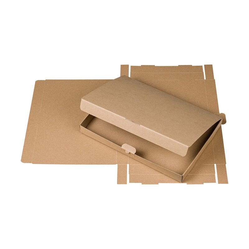A4 box with hinged lid, kraft cardboard 600 g/m², brown, 30 mm high