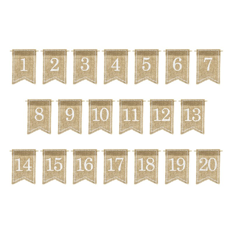 Jute tabel numbers, white, 7 x 10.5 cm, set with number 1 - 20