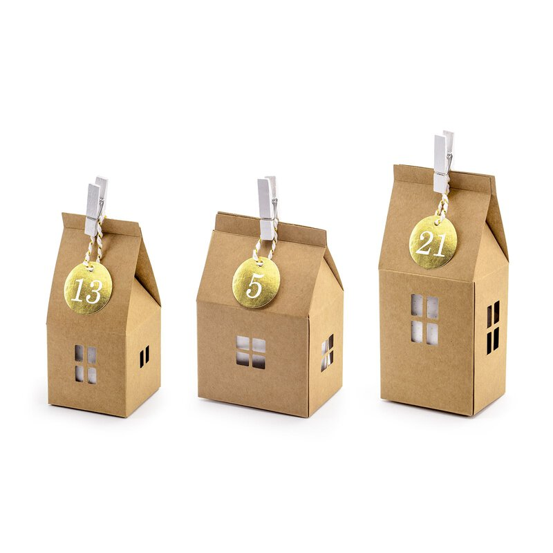 Advent calendar set of 24 Kraft cardboard houses, numbers, pegs and cotton cord