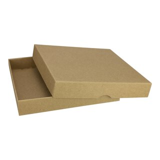 10 Folding boxes, 128 x 128 mm, kraft cardboard, lid, brown