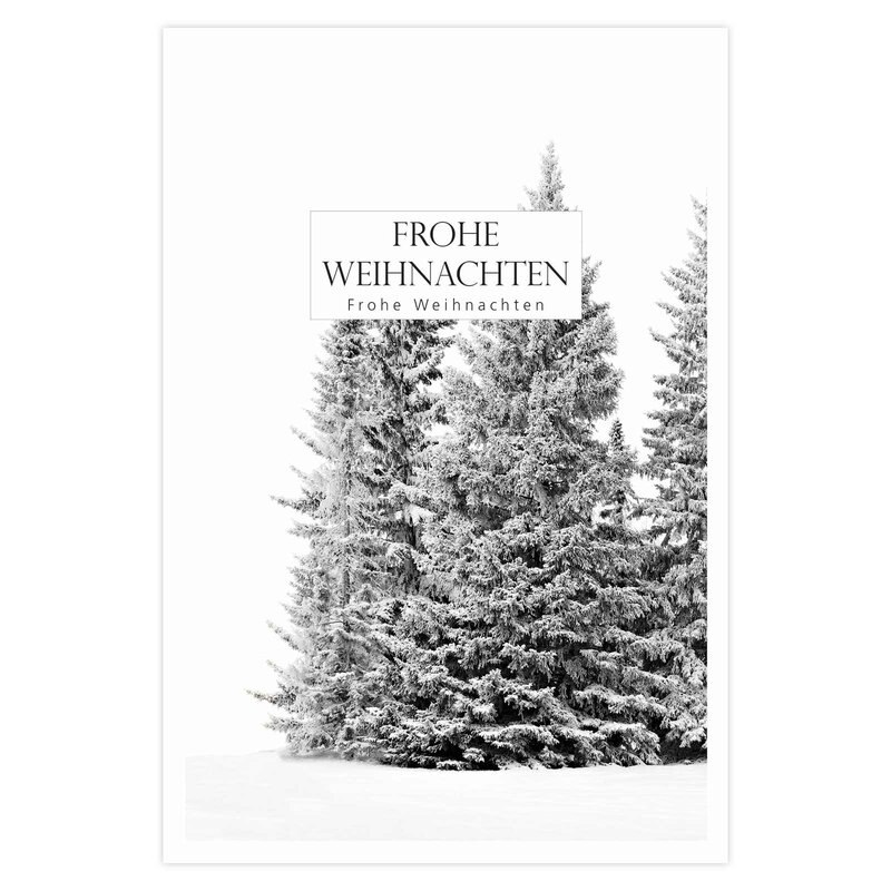 Gift card with clip, winter fir in the snow, A8 - pack of 12