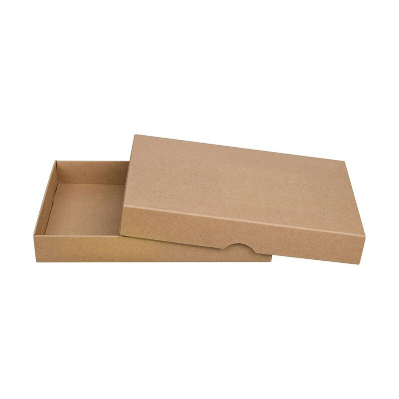 Folding box 13 x 18 cm, kraft cardboard, brown, with lid - 10 boxes/set