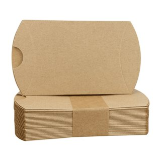 25 x Pillow Box, 80 x 65 x 20 mm, kraft cardboard, brown
