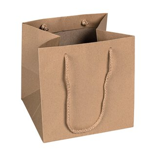 Shopping bag nature, 18 x 18 x 17,5 cm, kraft paper, with...