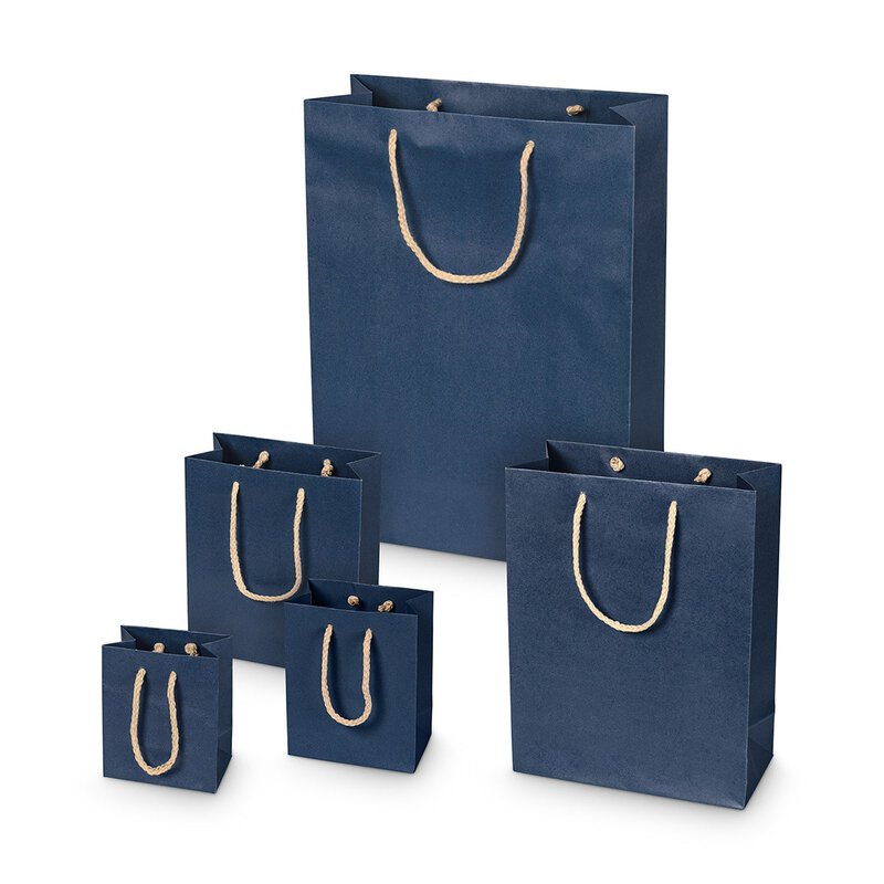 Shopping bag dark blue, kraft paper, smooth, cord handle