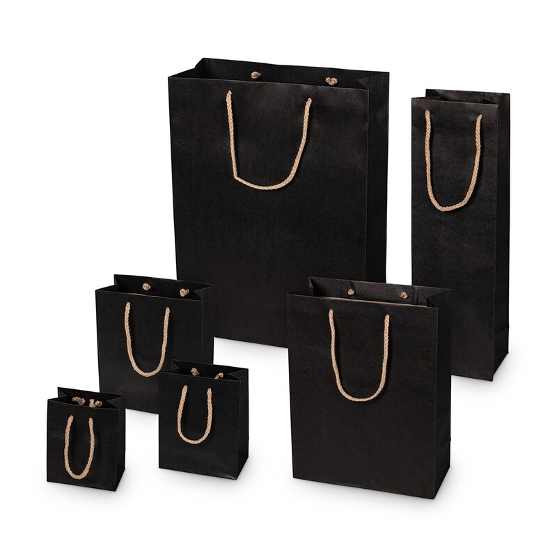 Shopping bag black, different sizes, kraft paper, with cotton handle - 12 pcs/pack