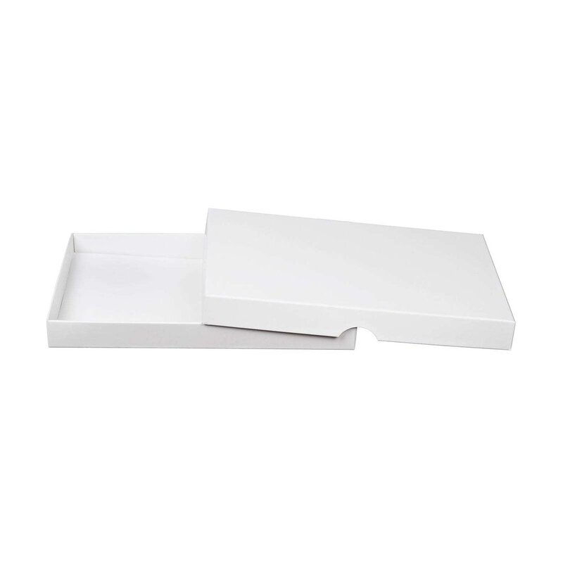 10 x White folding box, 13 x 19 x 2 cm, cardboard, with lid