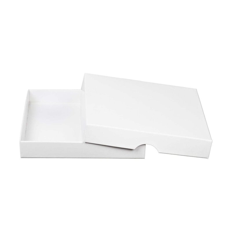 Folding box 12,8 x 12,8 x 2 mm, white, chromo cardboard, with lid - 10 boxes/set