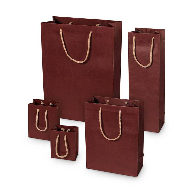 Shopping bag burgundy, different sizes, kraft paper, with cotton handle - 12 pcs/pack
