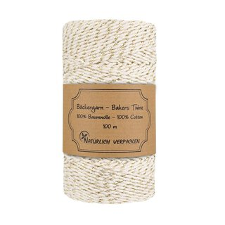 Bakers yarn, cream and gold, Bakers twine, handicrafts...
