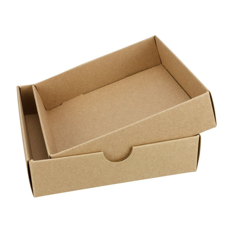 10 x Folding Box, 104 x 104 mm, lid, kraft cardboard