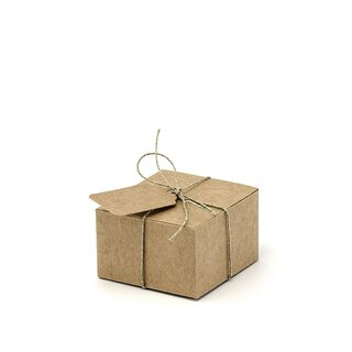 10 boxes 6 x 5.5 x 3.5 cm, kraft cardboard, with tags for...