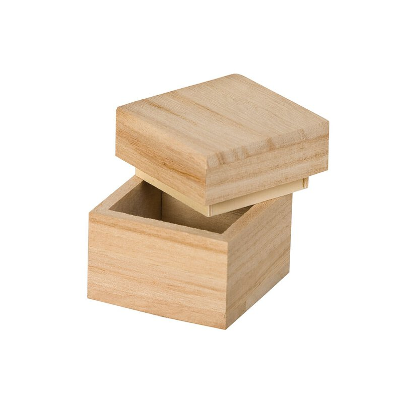 Wooden box 50 x 50 x 50 mm, with lid, birch