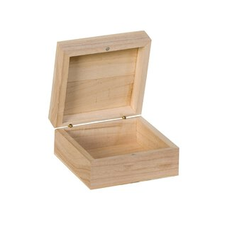 Wooden box 100 x 100 x 50 mm, hinged lid and magnetic...